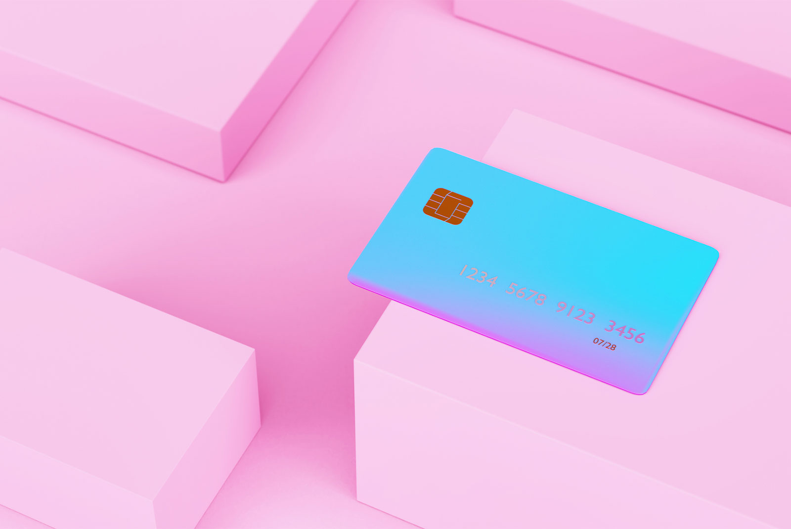 highly blue credit card in a pink maze