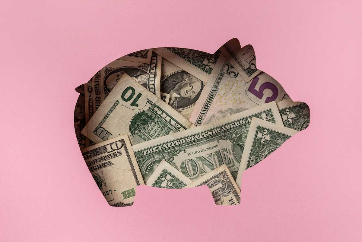 Pink background with pig-shaped cutout that resembles a piggy bank and is filled with cash.